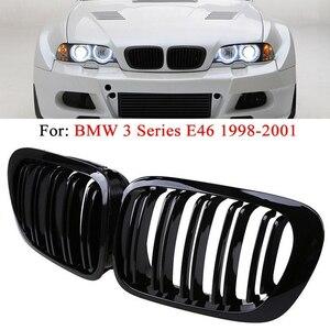 1 ペアの ABS プラスチック 2D クーペデュアルスラットフロントキドニーグリル BMW 3 シリーズ E46 1998-2001 グロスマットカーボン