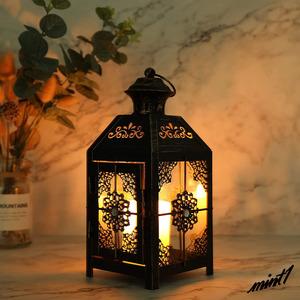 【レトロでエキゾチックな雰囲気に】ランタン キャンドルホルダー アンティーク ブラック 古スタイル ガーデン テラス 屋外屋内 飾り