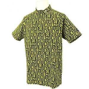 新品正規品 マスターバニー パーリーゲイツ サイズ4 総柄ロゴ ジャガード 軽量 ハイネック シャツ イエロー 送料無料