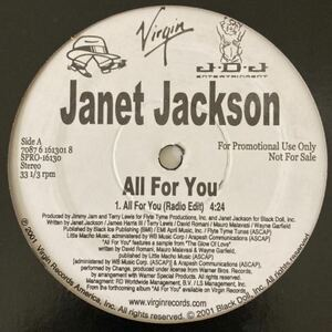 JANET JACKSON ALL FOR YOU 12inch オリジナル盤 プロモ盤 ジャネット ジャクソン 90'S R&B Vinyl promo only 12インチ EP レコード