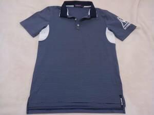 超美品 ルコックゴルフ リアルデザイン メンズポロシャツ ボーダー M(スリムサイズ)