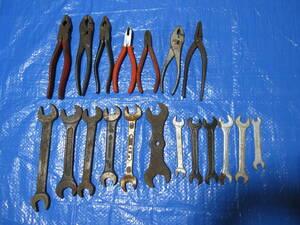 工具 古物 ペンチ7個、スパナ12個 工具類19個 使用可能品  ねじ回し レンチ カンナ 大工道具 日曜大工