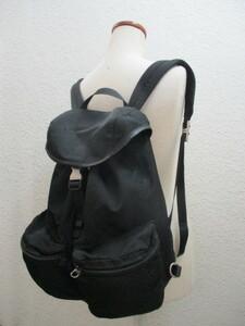 即決 2000年代初期 PRADA プラダ 3角プレート付 ジップポケット付き リュックサック リュック デイパック バックパック V136 黒 ブラック