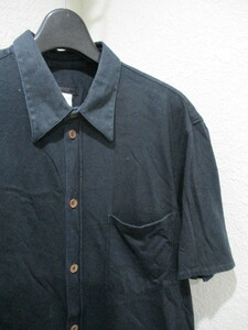 即決 アーカイブ HELMUT LANG ヘルムートラング 2000年代初頭 本人期 ブラウンボタン 半袖カットソーシャツ 半袖シャツ メンズ 40 ブラック