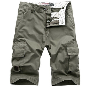 W38 グリーン カーゴショート メンズ 無地 ハーフパンツ ショートパンツ ゆたり 短パン 大きいサイズ 夏 夏用