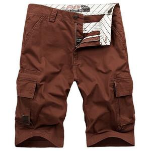 W38 レンガレッド カーゴショート メンズ 無地 ハーフパンツ ショートパンツ ゆたり 短パン 大きいサイズ 夏 夏用