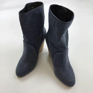 TILA MARCH ティラマーチ ショートブーツ ブーティー ウェッジソール コルク ハイヒール サイズ37 ネイビー 6448