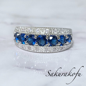 Free Shipping ☆ New [19] Ladies Ring Ring Sapphire Pavering Elegant Silver Jewelry D051B