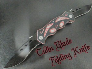 【Twin Blade】 キャンプ 釣り 登山 ハンティング サバイバルナイフ フォールディングナイフ