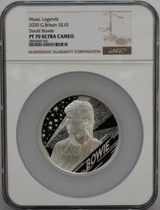 2020年 イギリス ミュージック レジェンズ デビッド・ボウイ 5オンス 10ポンド 銀貨 NGC PF70 ウルトラカメオ 最高鑑定品!!