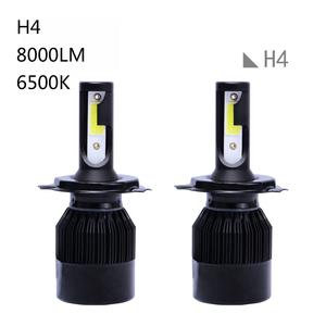 バイク/車 H4  LEDヘッドライトHi/Lo切替式 防水IP67 8000LM車検対応 ブラック