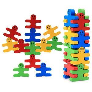 積み木 木製 おもちゃ パズル 立体 人型 形合わせ 知育玩具 学習 子供 親子 保育園 幼稚園 遊び教具 カラフル 色認識 バランス