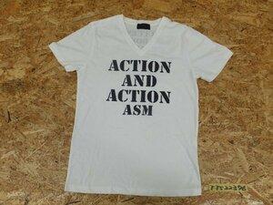 〈送料280円〉A.S.M アトリエサブメン メンズ 英字 Vネック 半袖Tシャツ L 白