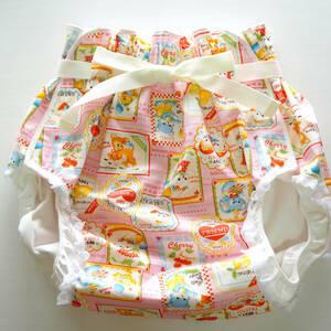 【新品】大人用おむつカバー LL アニマルフレンズ(ピンク) 腰ひも×レース フィラインベイビーズ/Feline Babies