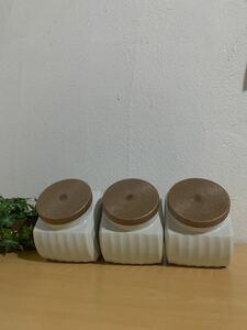 昭和レトロ 陶器製 駄菓子入れ 保存容器 新品未使用 花柄 3点セット レア物