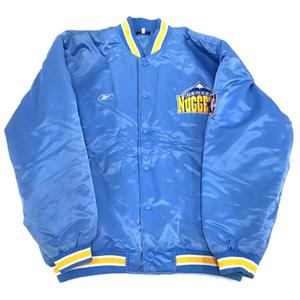 1円 リーボック サイズ M 長袖 ブルゾン ジャケット アウター 中綿 DNVER NUGGETS ナイロン メンズ ブルー Reebok