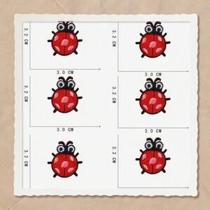 6枚入てんとう虫ワッペン刺繍ワッペンアイロンワッペン