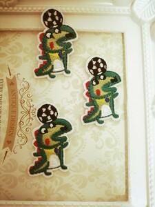 3枚入ワニアイロンワッペン 刺繍ワッペン 入学準備 アイロンワッペン
