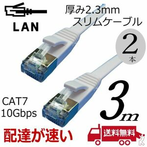 お買い得【2本セット】スリムフラットLANケーブル 3m Cat7 高速転送10Gbps RJ45コネクタツメ折れ防止 ノイズ対策シールドケーブル 7SM03x2