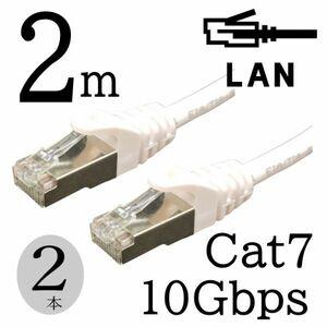 お買い得【2本セット】LANケーブル 2m Cat7 高速転送10Gbps RJ45コネクタツメ折れ防止 ノイズ対策シールドケーブル 7T02x2 □