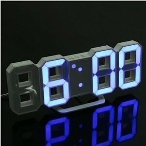★交渉★5-495 掛け時計 壁掛け時計 デジタル アクリル製 LEDテーブル ウォールクロック 24 12時間 スヌーズ調整可能 全4色