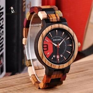 【セール中】8-279 ボボバード レロジオ masculino 木製腕時計男性高級日付表示木材日本クォーツ時計メンズグレートギフトerkek kol s