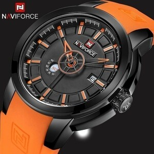 【セール】ysj00037 腕時計 メンズ naviforce スポーツウォッチ クォーツ 防水 男性 レロジオ ブラウン&レッド