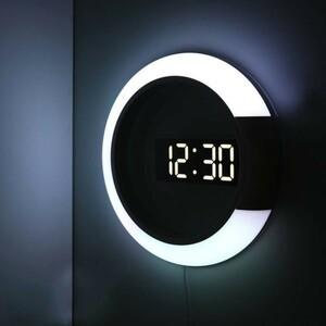 【セール】ysj00247 掛け時計 壁掛け時計 3D LEDデジタル モダンデザイン ミラーホローウォールクロック ナイトウォールクロック