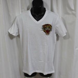 Ed Hardy(エドハーディー) メンズ半袖Tシャツ M02CVEL091 Vネック ホワイト 新品 白色 TIGER刺繍 Mサイズ
