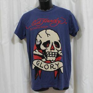 エドハーディー ED HARDY メンズ半袖Tシャツ ネイビーブルー Sサイズ 新品 アメリカ製