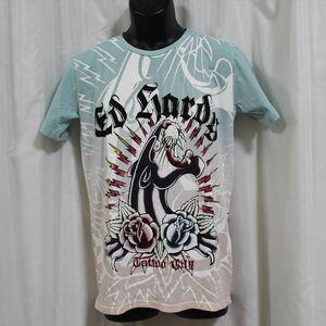 エドハーディー ED HARDY メンズ半袖Tシャツ ブルーxピンク Mサイズ 新品