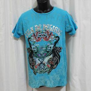エドハーディー ED HARDY メンズ半袖Tシャツ ブルー Sサイズ 新品 パンサー ストーンデザイン