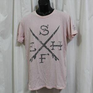 エドハーディー ED HARDY メンズ半袖Tシャツ ピンク Lサイズ 新品 アウトレット