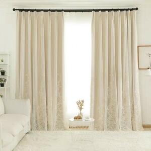 レース無料 一体型カーテン 高級 ドレープカーテン 遮光カーテン 和風 リビング アジアン 工場から直売 レースカーテン 刺繍 きれい お洒落