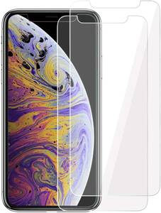 iPhoneX ガラスフィルム 【2枚セット】日本旭硝子素材 強化フィルム 液晶保護フィルム 高透過率 飛散防止 硬度9H 指紋防止 簡単貼り付け