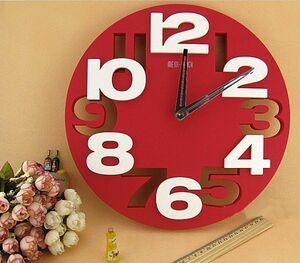 おしゃれ 3D ウォール クロック デザイン 壁掛け時計 (レッド)