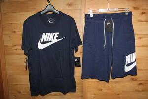 未使用ナイキNIKE メンズL 紺 ビッグスウォッシュロゴ半袖Tシャツ&スウェットハーフパンツ