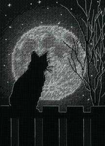 Dimensions クロスステッチキット 猫 月夜 Black Moon Cat シルエット 14ct 初心者 初級 ディメンションズ 刺しゅうキット ハンドメイド