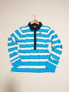 le coq sportif GOLF ルコックゴルフ ボーダー ポロシャツ 半袖 ボタンダウン トップス ウェア ライトブルー ホワイト sizeL