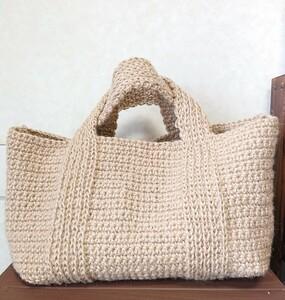 アウトドアトート 麻紐バッグ 麻ひもバッグ かごバッグ トート トートバッグ 手編みバッグ ハンドメイド