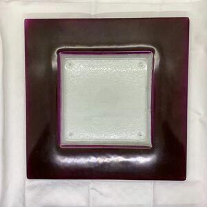 グラススタジオ 四角皿 スクエア ディナー プレート ガラス製 中古
