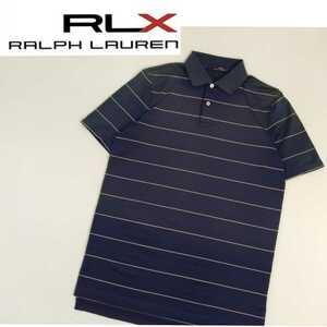 状態良好 RLX RALPH LAUREN 吸水速乾性 ストレッチ 半袖ポロシャツ メンズM ラルフローレン スポーツウェア ゴルフウェア ボーダー 2104247