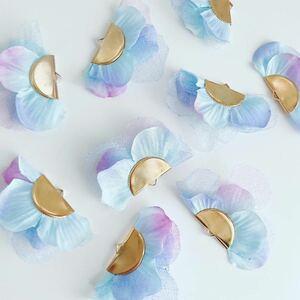 アクセサリーパーツ 4個セット 紫陽花 花びら シフォン チュール パーツ アクセサリー ピアス イヤリング チャーム