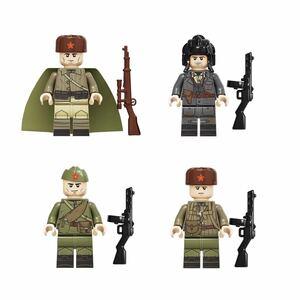 ソビエト連邦 4体 軍人 兵士 ロシア ミニフィグ LEGO 互換 ブロック ミニフィギュア レゴ 互換 q