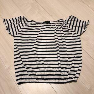 トップス ボーダー カットソー Tシャツ 夏 ブラック ホワイト シンプル 半袖
