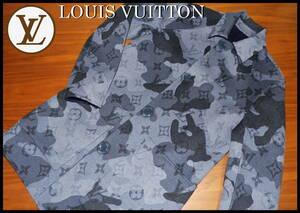 LOUIS VUITTON カモダブル カーコート ルイヴィトン 正規品 モノグラム 46 ML カモフラ 高級 ウール 新品同様 レザー ジャケット ネイビー