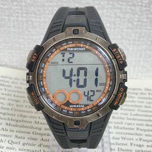 ★TIMEX marathon デジタル 多機能 メンズ 腕時計★ タイメックス マラソン アラーム クロノ ブラック 稼動品 F4167