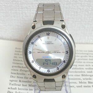 ★CASIO ILLUMINATOR デジアナ 多機能 腕時計 ★カシオ イルミネーター AW-80 2針 アラーム クロノ タイマー シルバー 稼動品 F4266