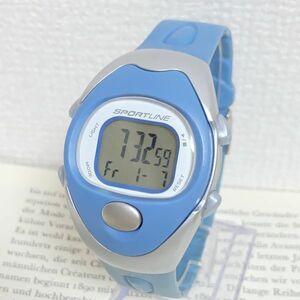 ★SPORTLINE 多機能 デジタル 腕時計★ スポーツライン アラーム クロノ タイマー シルバー×ブルー 稼動品 F4290