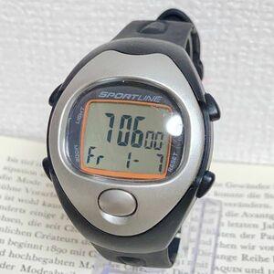 ★SPORTLINE 多機能 デジタル 腕時計★ スポーツライン アラーム クロノ タイマー ブラック×シルバー 稼動品 F4292